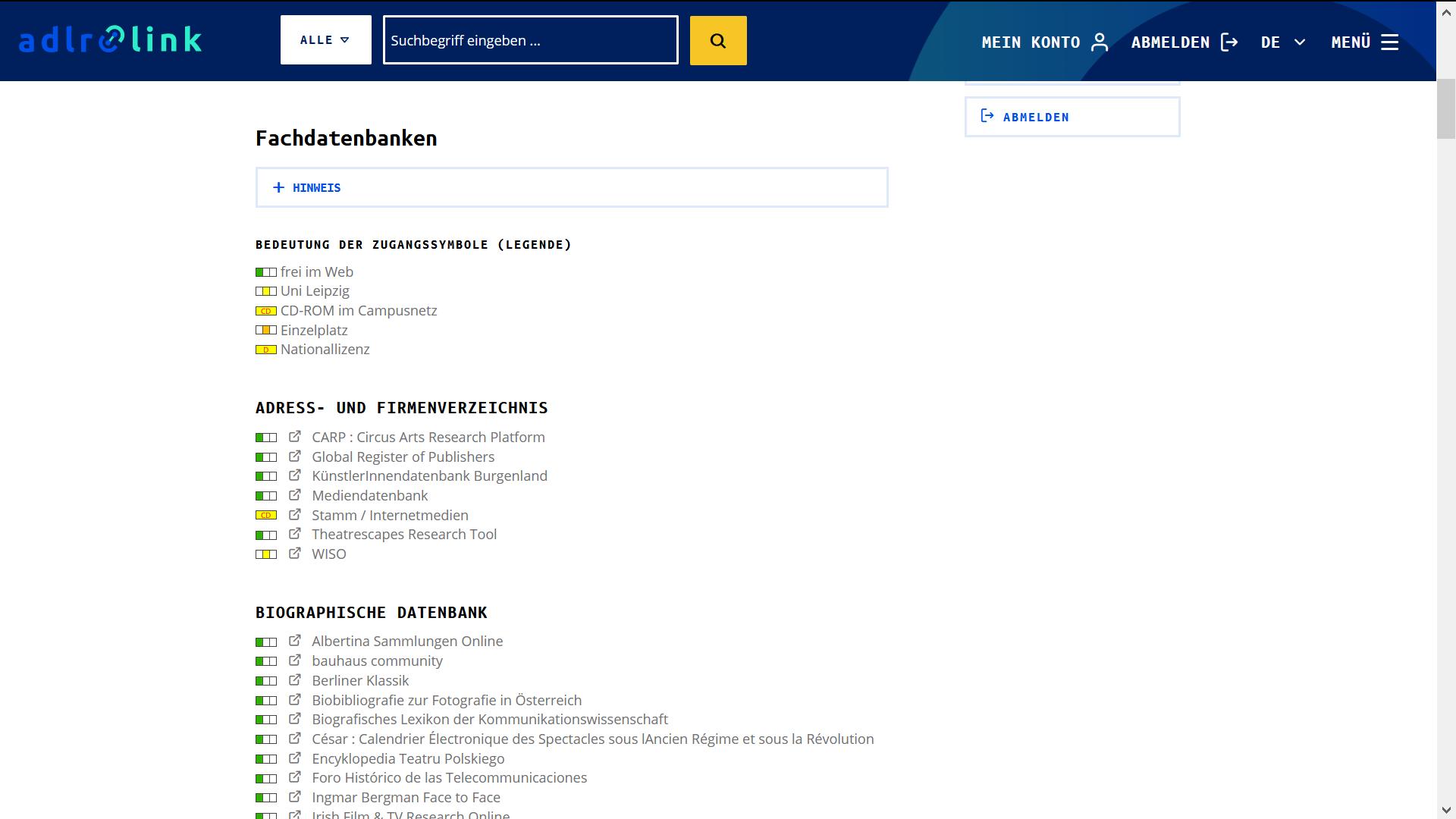 Nutzerspezifische Integration von Fachdatenbanken aus DBIS im Katalog-Frontend von adlr.link