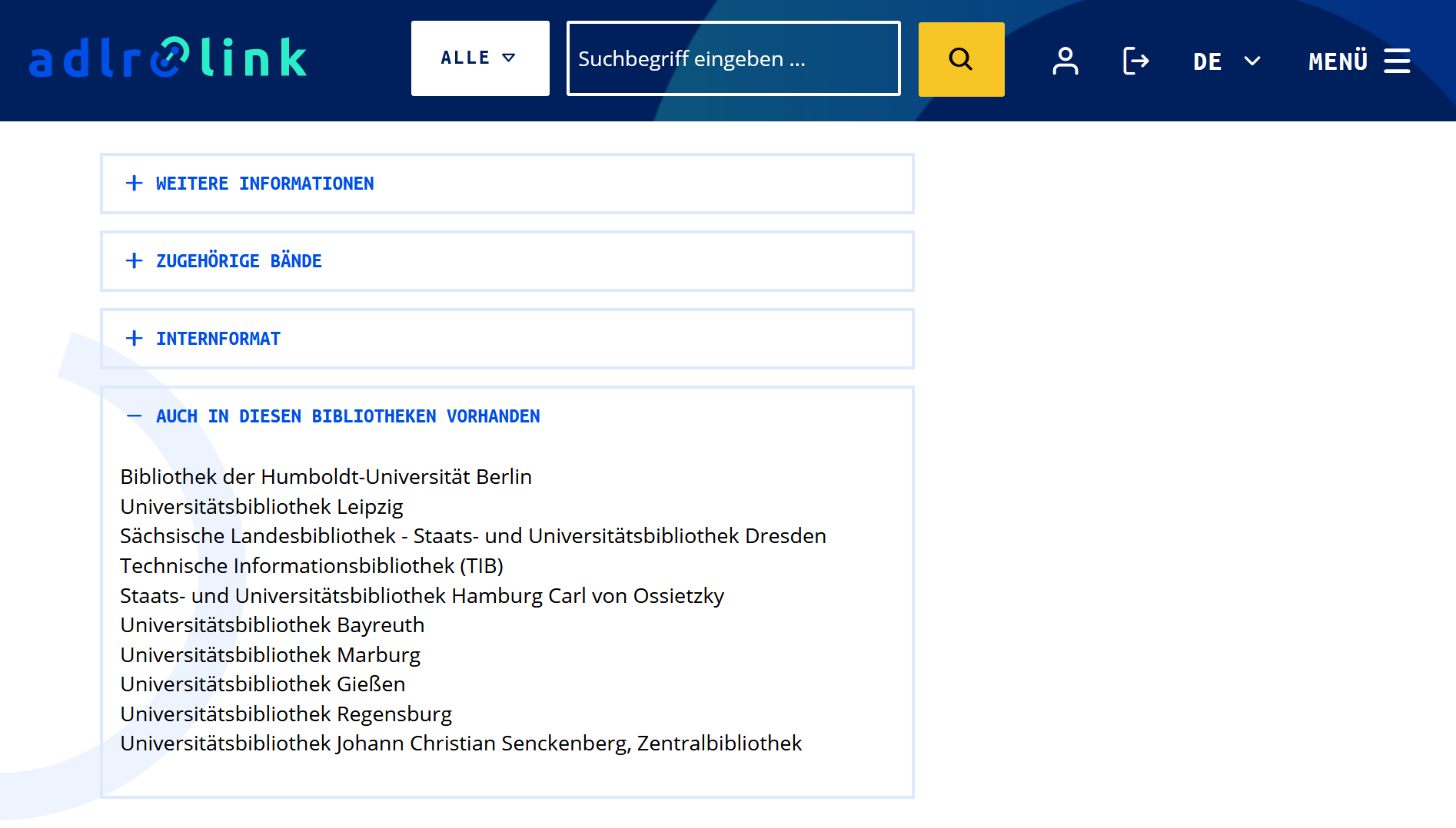 Integration of Worlcat availability information in the catalog frontend of adlr.link