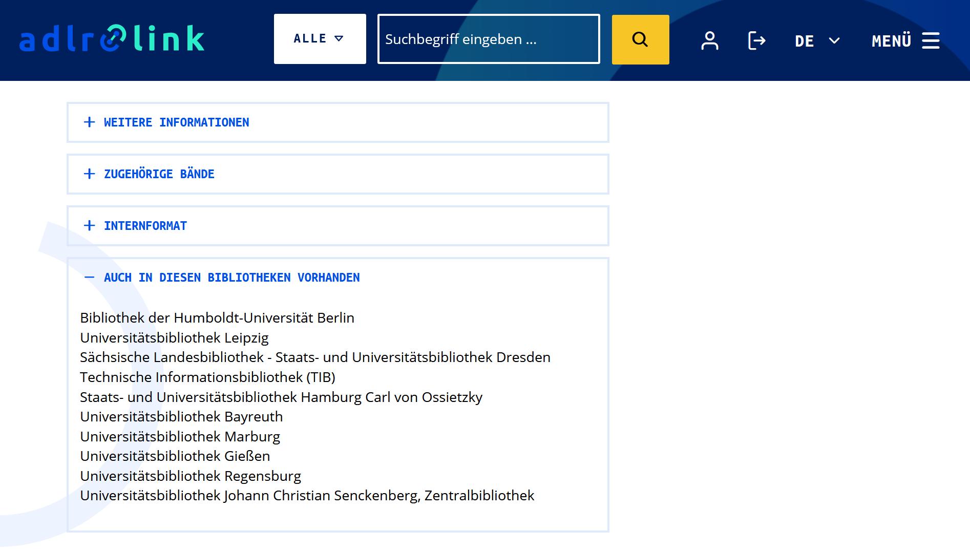 Integration der Worlcat-Verfügbarkeitsinformationen im Katalog-Frontend von adlr.link
